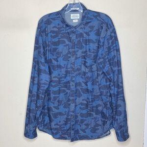 Lucky Brand Blue Camo Button Up Shirt Large